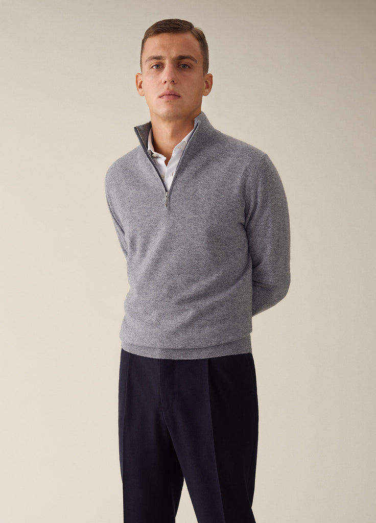 Amo Half Zip Cashmere - Light Grey
