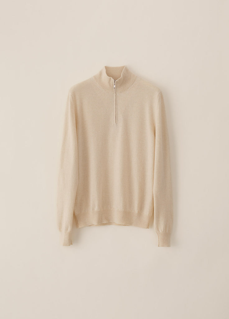 Amo Half Zip Cashmere - Off White