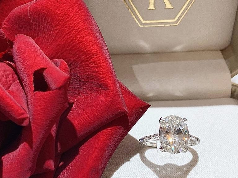 Engagement Ring with Rose Petal