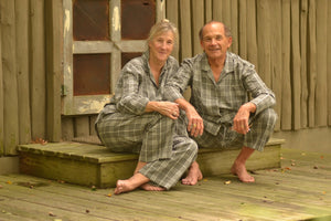 grandparents_melange_check_pyjamas_pajamas_matching_fair_trade_made