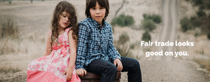 boy and girl sitting in Australian countryside in ethical clothing by eternal creation