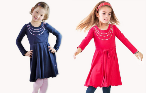 girls swing dresses navy and strawberry red