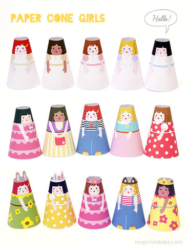 eco play paper cone dolls mr. printables