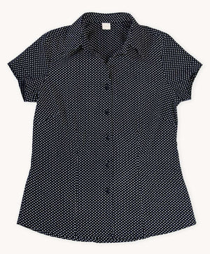 Black Polka Dots Cotton Shirt