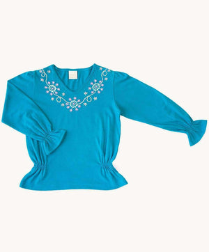 Cerulean Embroidered Top