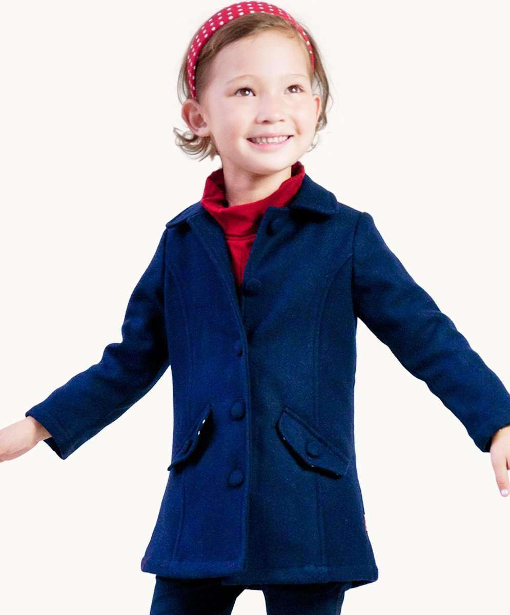 b3bc0fc9dba5 Classic Navy Wool Coat Girls Winter Designer Clothing Fair Trade Fashion -  Eternal Creation