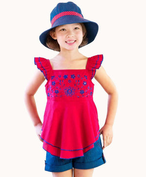 Cute Ruby Red Embroidered Sequin Top