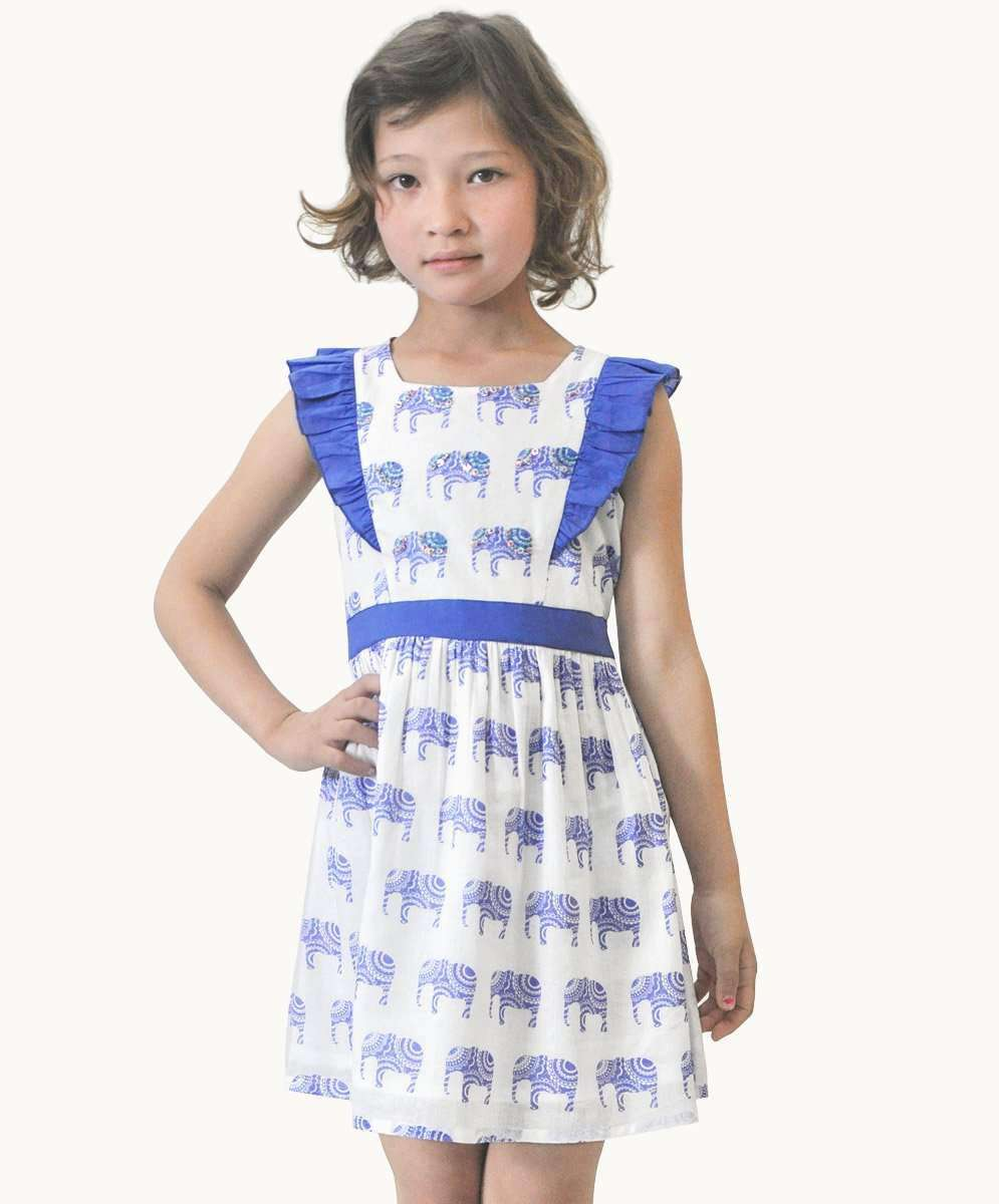 ed8d451e654 Elephant Criss Cross Dress Girls Summer Designer Clothing Fair Trade ...