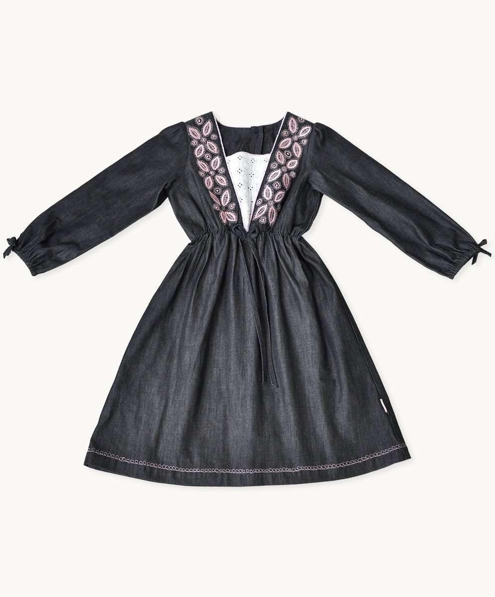 Embroidered Charcoal Denim Dress