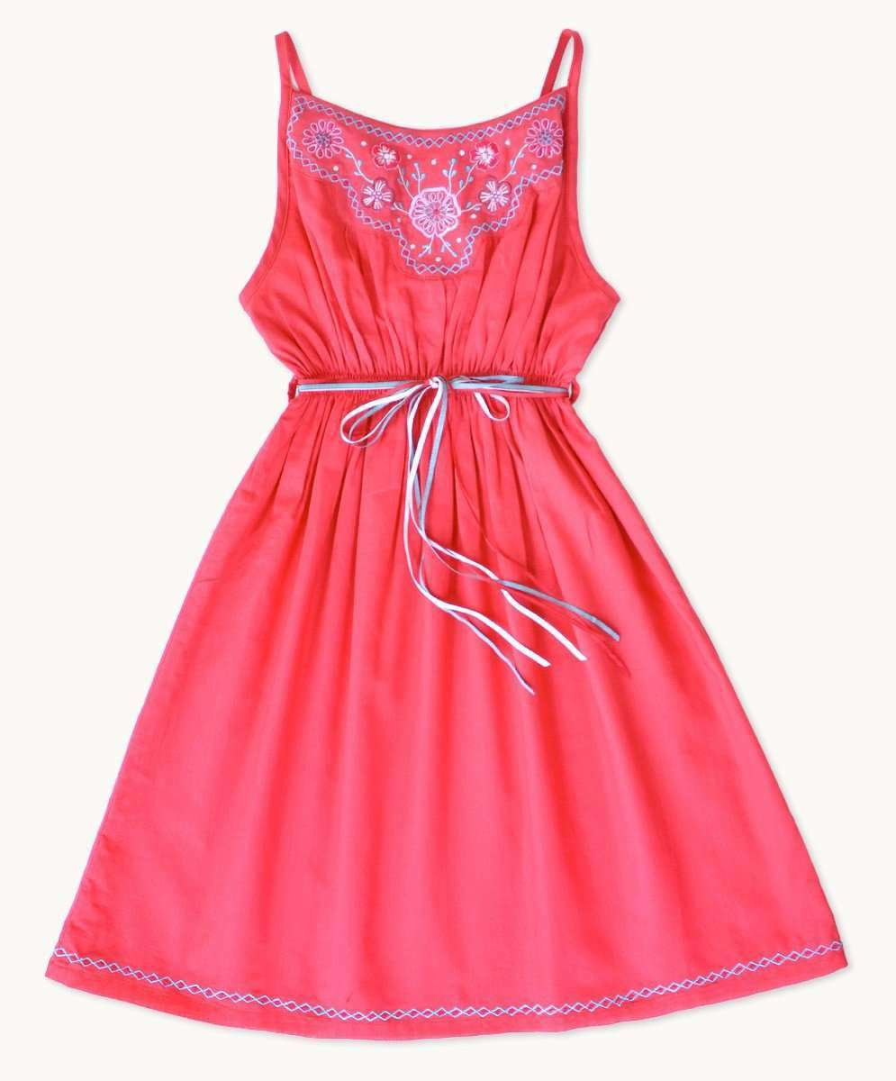 Embroidered Strawberry Sundress