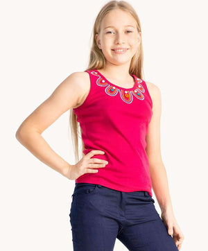 Hot Pink Button Tank