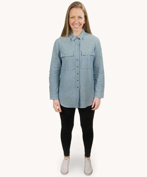 Jagdish Teal Oversized Shirt