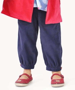 Navy Embroidered Corduroy Toddler Pants