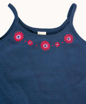 Navy Embroidered Singlet