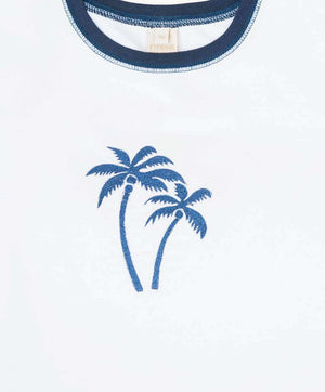 Palm Trees Embroidered Cotton T-Shirt