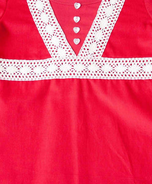 Red Cord A-Line Lace Dress