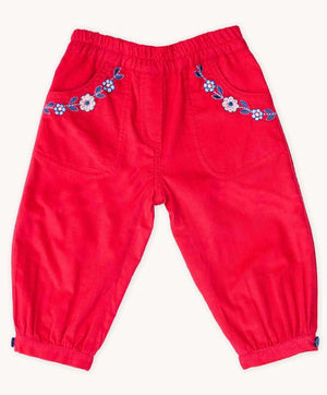 Red Embroidered Cord Pants