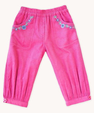 Rose Embroidered Cord Pants