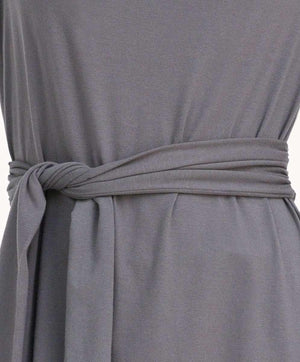 Slimming Taupe Tie Dress