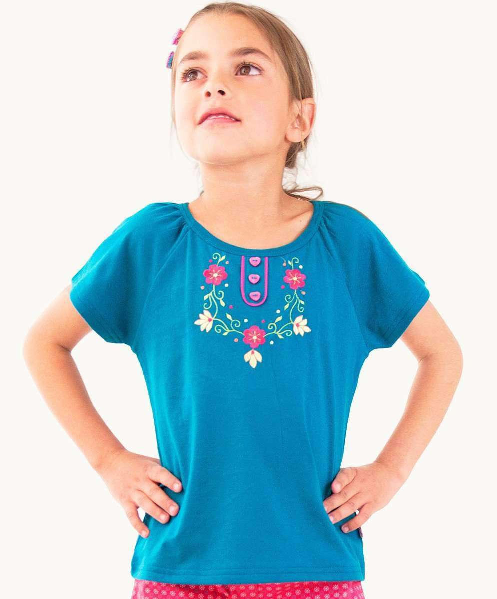 Striking Cerulean Embroidered Tee