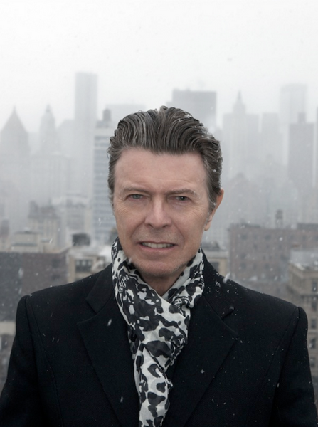 david bowie in nyc with skull scarf