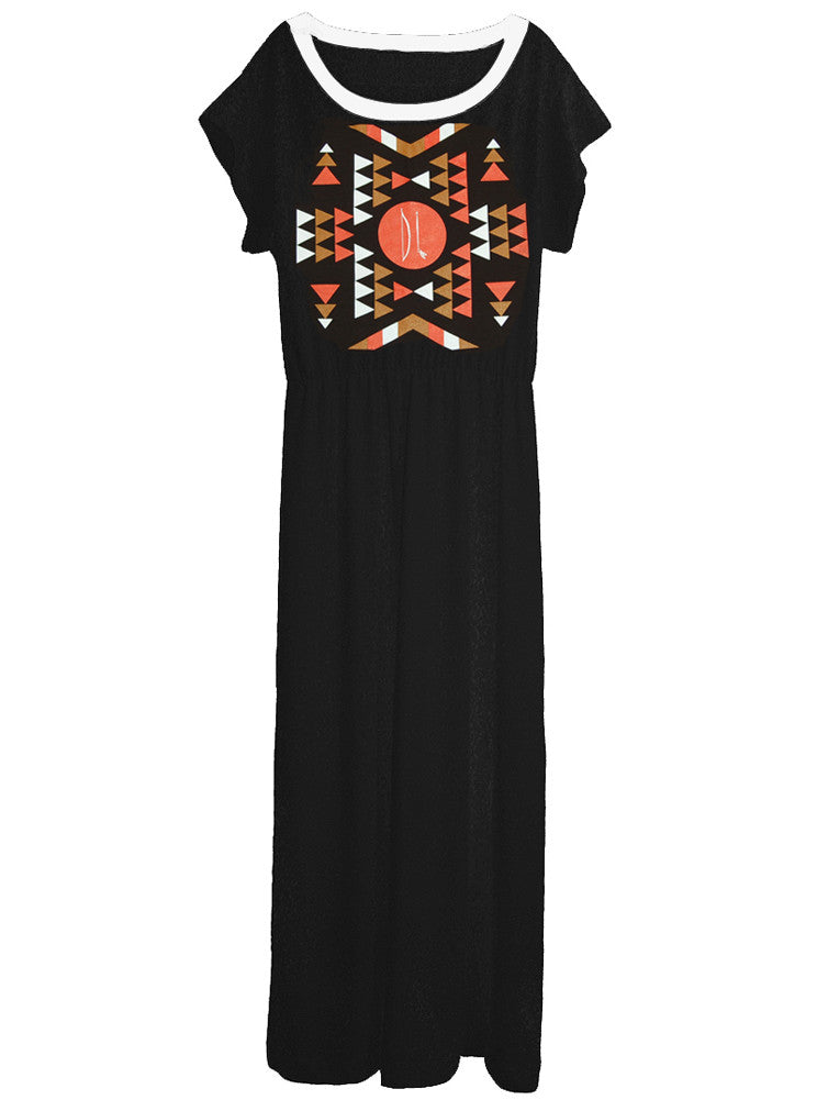 Aztec Native American Indian Long Maxi Dress Gown - IDILVICE Clothing