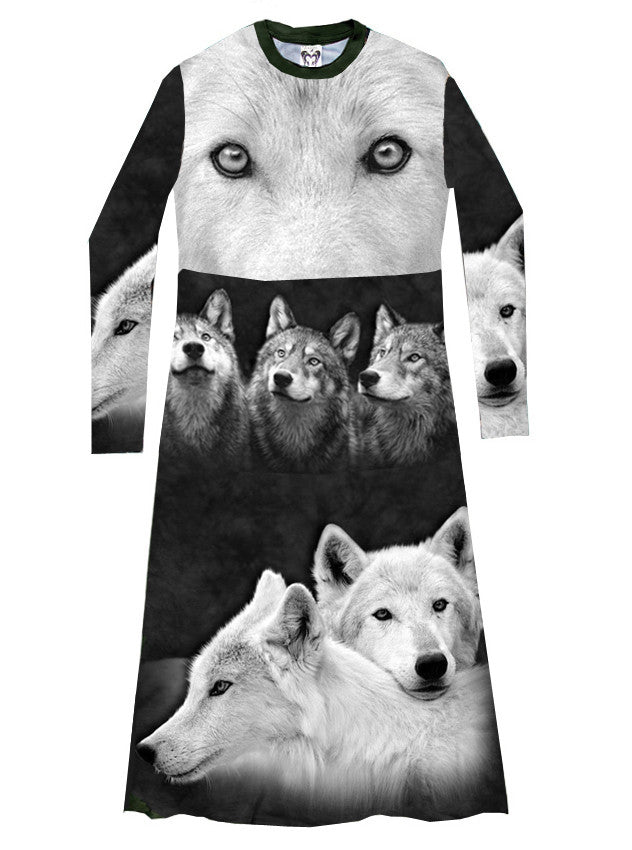 Full Of Wolves T-Shirt Dress - IDILVICE Clothing