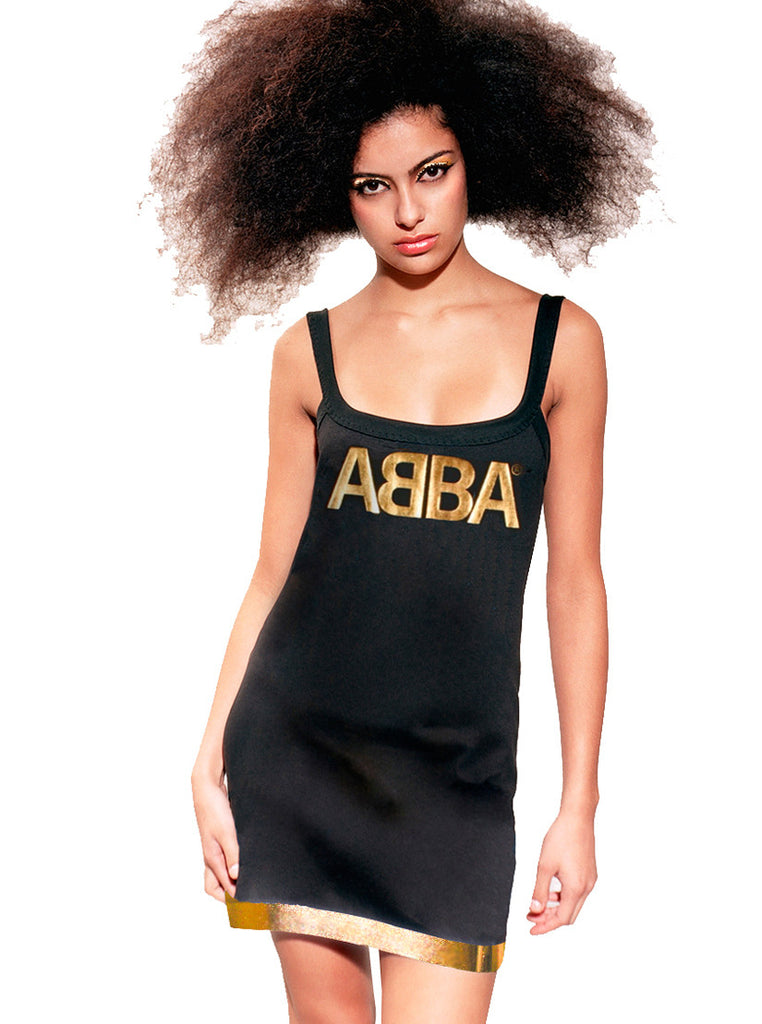 Abba Gold Foil Print Mini Strap Dress