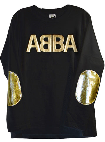 Abba Gold Foil Printed Long Sleeve Crew Neck Sweater