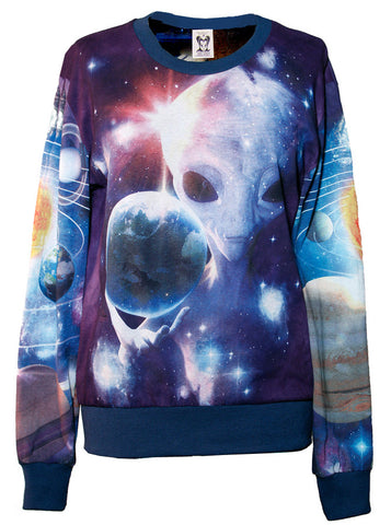 Alien in Galaxy All Over Print Long Sleeve Jumper