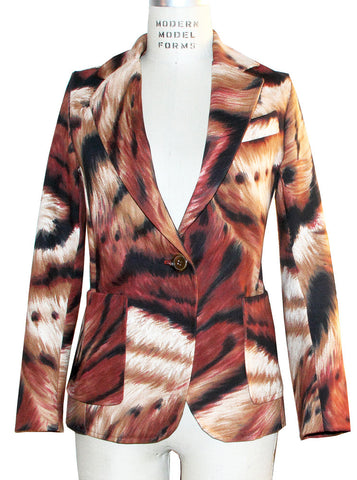 Animal Print Stretch Cotton Canvas Blazer