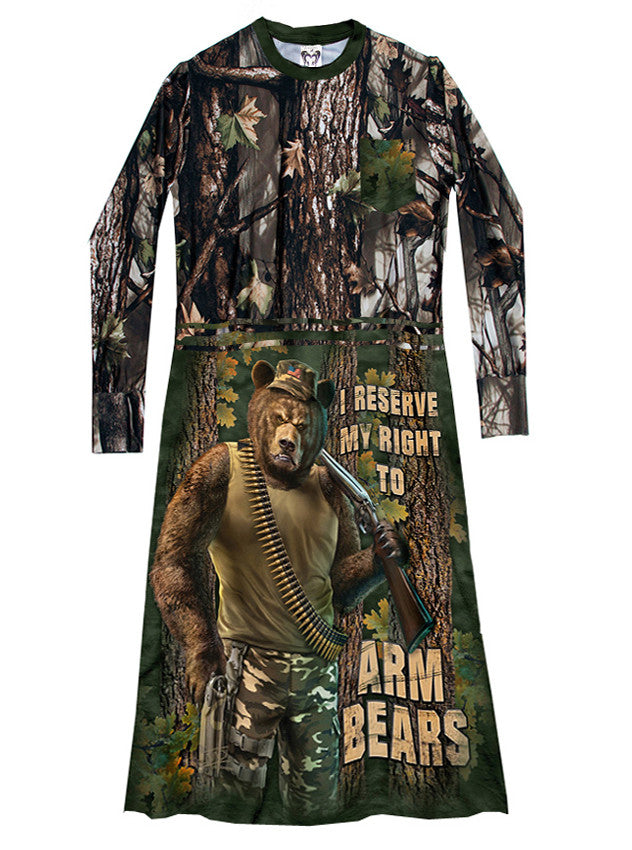 Right To Arm Bears Camo T-Shirt Dress - IDILVICE Clothing