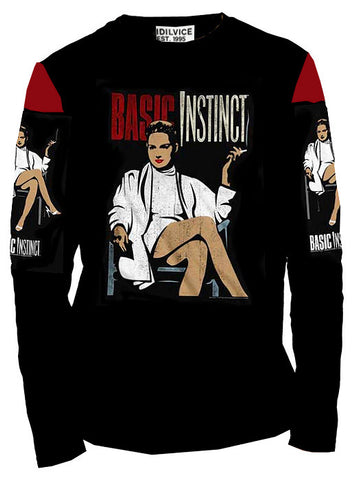 Men's Basic Instinct Graphic Printed Long Sleeve Crew Neck Sweater