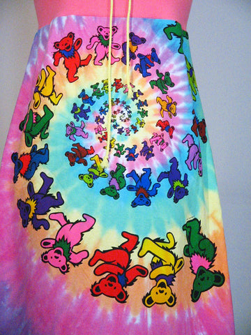 Grateful Dead Spiral Bears Psychedelic Tie Dye Strapless Tube Dress