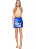 Beatles Names Graphic Mini Skirt With Zipper
