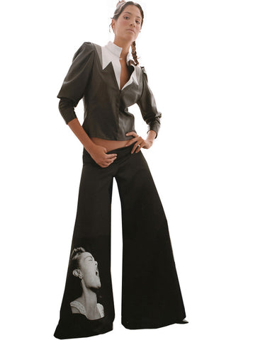 Billie Holiday Wide Leg Low Rise Stretch Satin Gaucho Pants