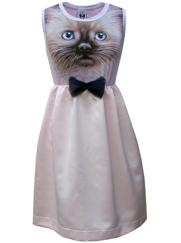 Black and Tan Kitten Face Pink Cocktail Tea Party Dress