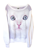 Blue Eyed Kitten Cat Face T-Shirt Jumper - IDILVICE Clothing - 1