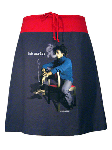 Bob Marley Sitting Photo Print Drawstring Skirt