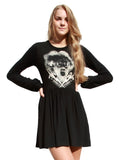 Bride Of Frankenstein Long Sleeve Skater Dress - IDILVICE Clothing - 1
