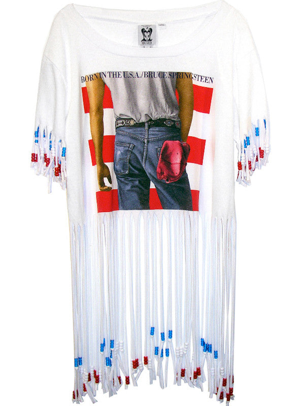 Bruce Springsteen Born In The U.S.A. Loose Fit Beaded Fringe Top - IDILVICE Clothing - 1