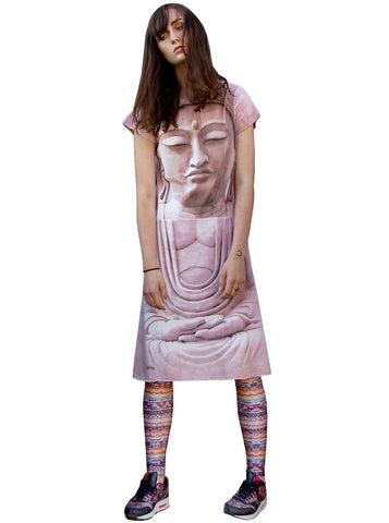 Buddha Face Spiritual Zen T-Shirt Dress