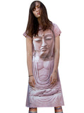 Buddha Face Spiritual Zen T-Shirt Dress - IDILVICE Clothing - 2