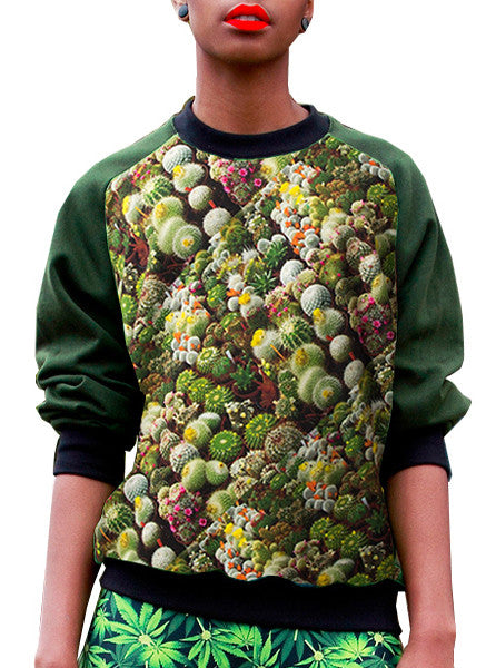 Cactus Print Sweatshirt Top - IDILVICE Clothing - 1