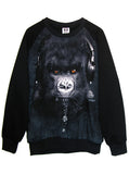 DJ Caesar Pierced Gorilla Earphones Photo Organic French Terry Sweatshirt - IDILVICE Clothing - 1