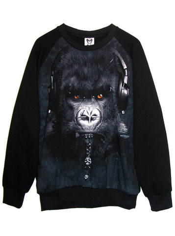 DJ Caesar Pierced Gorilla Earphones Photo Organic French Terry Sweatshirt