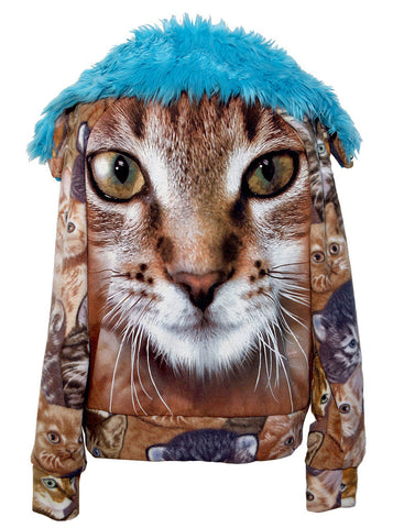 Cat & Kittens Fake Fur Fleece Track Jacket