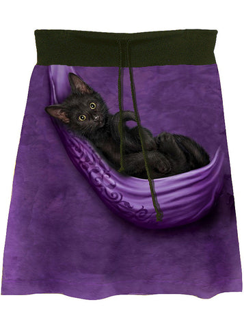 Black Cat Pouch Tie Dye Aline Drawstring Skirt