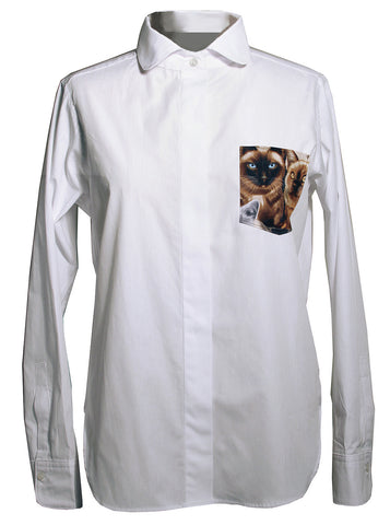 Cat Face Pocket Women's Button Down Shirt