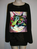 Cat Painting Oversize Sweatshirt Sweater Dress - IDILVICE Clothing - 2